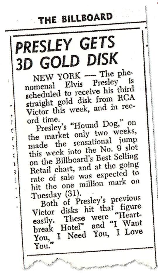 Presse-Clipping-Presley-gets-3rd-Gold-Disc