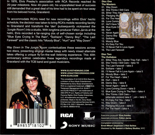 Back cover of Way Down in The Jungle Room with the new mix of Matt Ross-Spang on CD 2 - RCA/Sony Legacy
